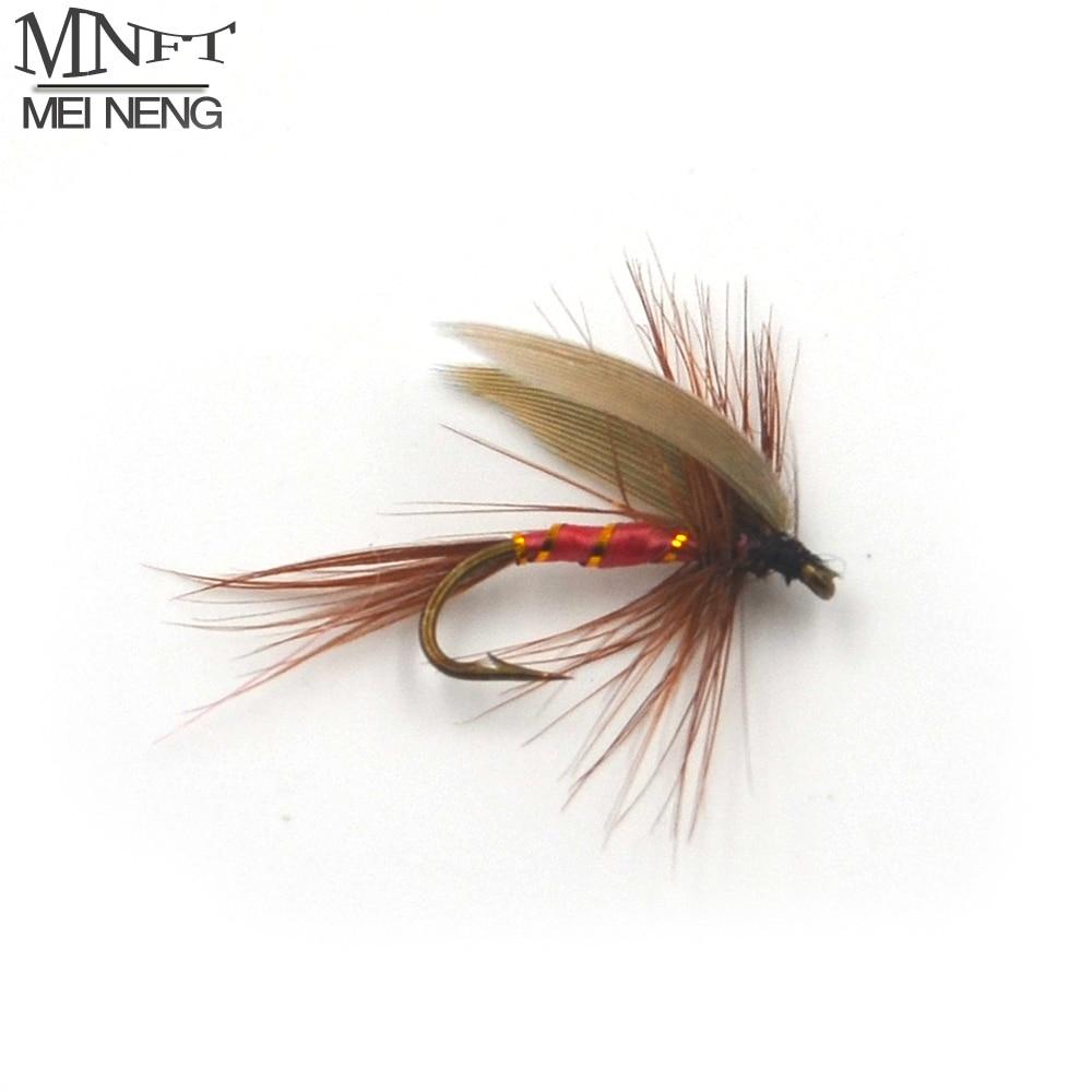 MNFT 10PCS Pfau Flügel Kann Fliegen Trout Fishing Flies 12 # Stacheldraht Haken Angeln Locken