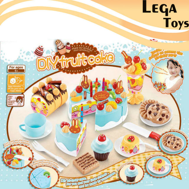 75pcs Classic Toy Pretend Play Kitchen Toys For Childrenkids Birthday Cake DIY Model Educational Toys3 Styles
