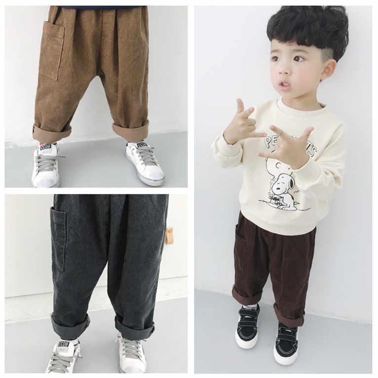 b9f51d0f394 Korean style Autumn baby boys solid color corduroy harem pants children  loose Harem trousers kids fashion