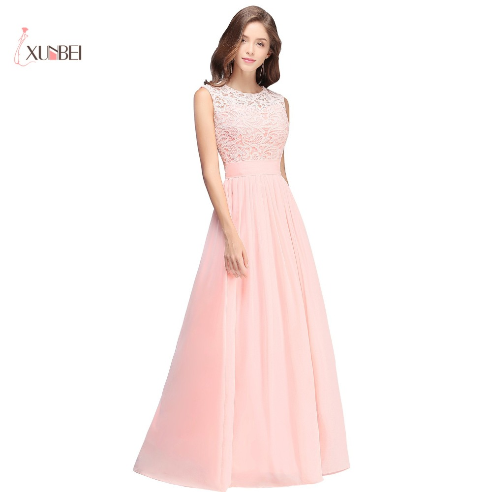 Elegant Light Pink Chiffon Long Prom Dresses 2018 Lace Ruched Floor ...