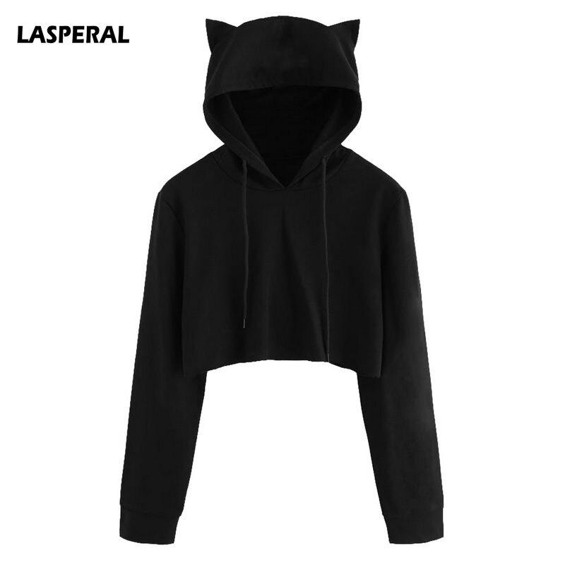 LASPERAL Cute Womens Sweatshirts Hoodie Crop Tops Solid Cat Ear Long Sleeve Cropped Sweatshirt Hooded Pullover 2020 New Autumn