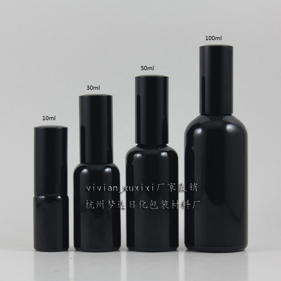 30ml shiny black Glass lotion bottle with black aluminum pump,cosmetic packing,cosmetic bottle,packing for liquid