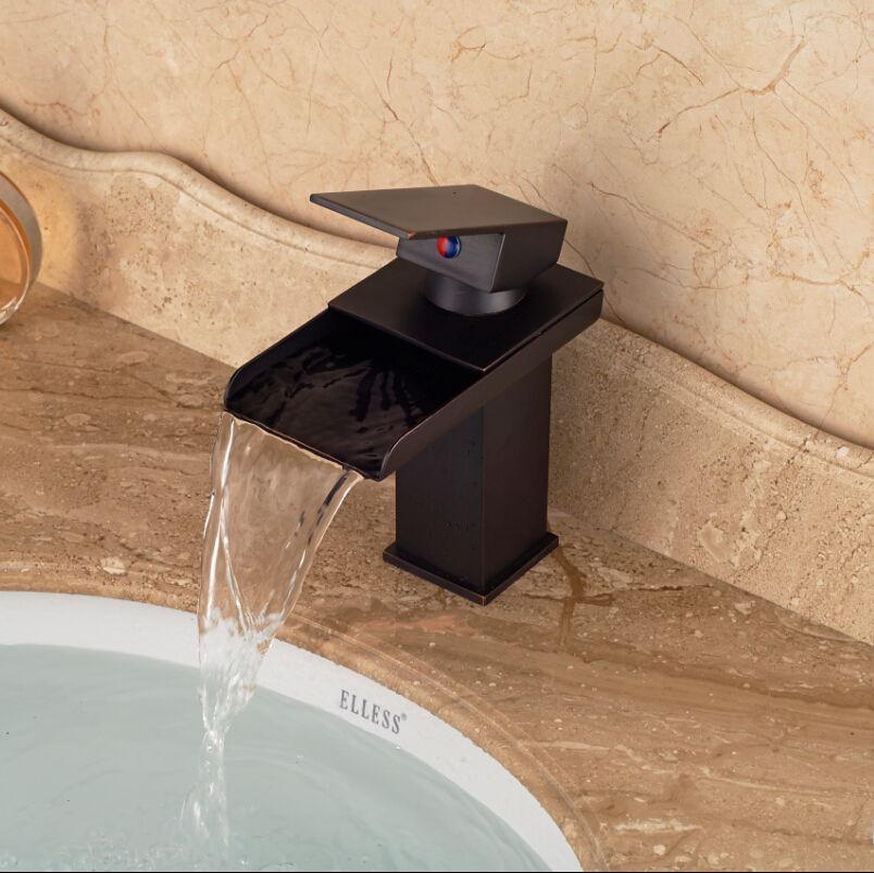 все цены на Oil Rubbed Bronze Waterfall Widespread Countertop Faucet Hot and Cold Water Mixer Taps онлайн