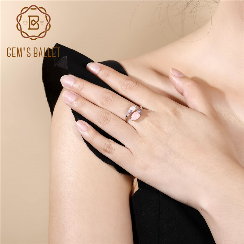 GEM S BALLET Natural Cute Pink Calcedony Cocktail Ring Real 925 Sterling Silver Open Rings For