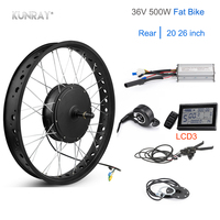 Electric Bike Conversion Kit 20 26 Fat Bike Motor Wheel 36V 500W Brushless Gear Hub Motor Rear Snow Wheel KT Controller LCD