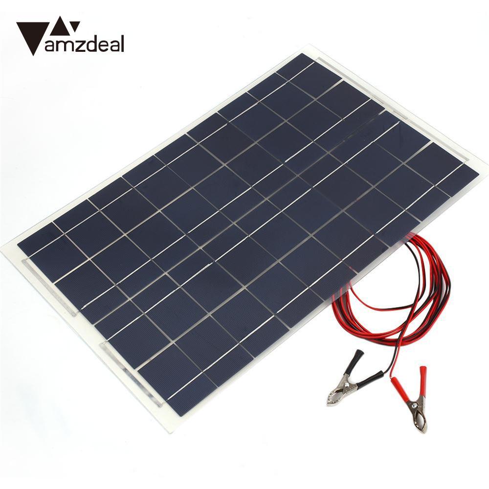 Amzdeal 18V 30W Polycrystalline Smart Solar Panel Car RV Boat Batteries Power Bank Charger Alligator Clip Solar Cells Outdoor Tr