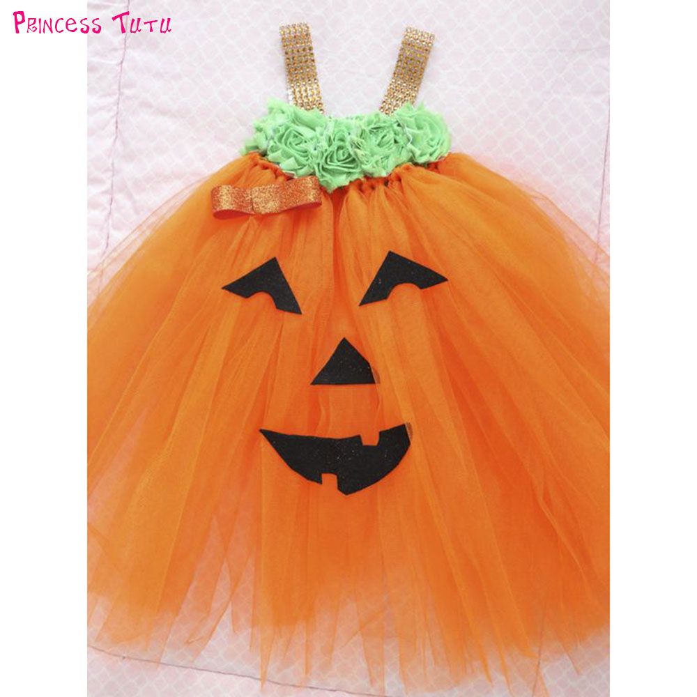 Adorable Baby Pumpkin Costume Dress Up Toddler Girls Halloween Theme Party Tutu Dress 6-18 Months Autumn Winter 2018 Dresses 1