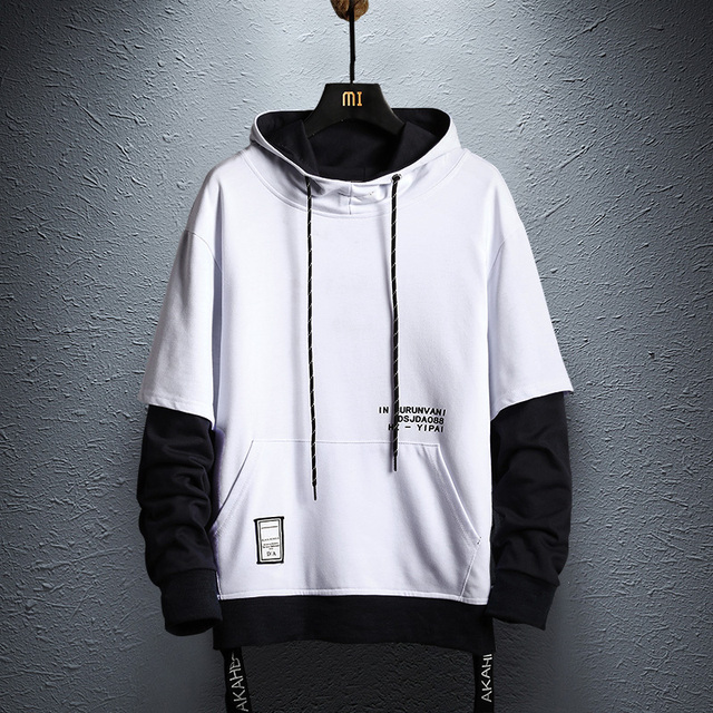 Hoodie Sweatshirt Mens Hip Hop Pullover Hoodies Streetwear Casual Fashion Clothes colorblock hoodie 2019 cotton 1