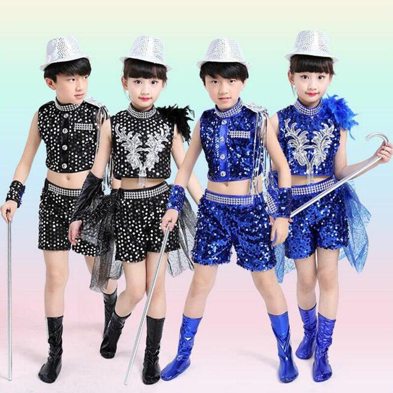 dee32d69b Boys Sequined Jazz Tap Modern Dancewear Tops+Pant Girls Party Show Dance  Costume Children s dancing Outfits