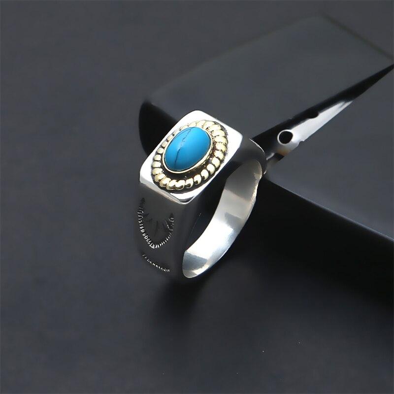 2019 Couple Vintage anneau 100% 925 bijoux en argent Sterling hommes femmes mosaïque bleu pierre amour anneau bisutérus mujer livraison gratuite R026-in Anneaux from Bijoux et Accessoires    2