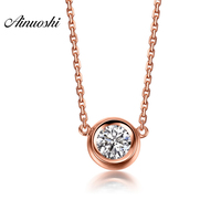 AINUOSHI Luxury 18K Rose Gold Round Shaped Round Cut CZ Necklace Pendants 43cm Cross Chain Women