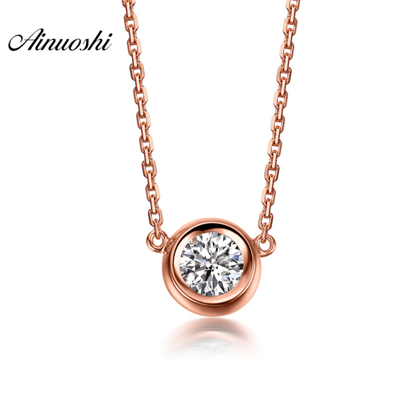 AINUOSHI Luxury 18K Rose Gold Yellow Gold White Gold 0.1ct Real Diamond Necklace Pendant Wedding Pendant Jewelry Christmas Gifts 18k 750 white gold pendant gh color round lab grown moissanite double heart necklace diamond pendant necklace for women jewelry