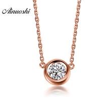 AINUOSHI Luxury 18K Rose Gold Yellow Gold White Gold 0.1ct Real Diamond Necklace Pendant Wedding Pendant Jewelry Christmas Gifts