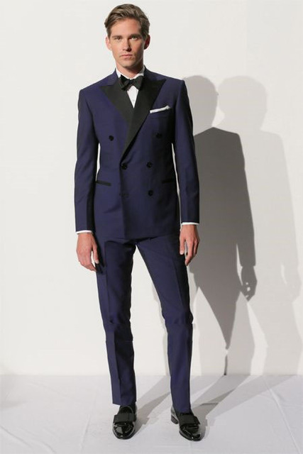 Peaked Lapel Double Breasted Suits Men Suits Navy Bule Fashion
