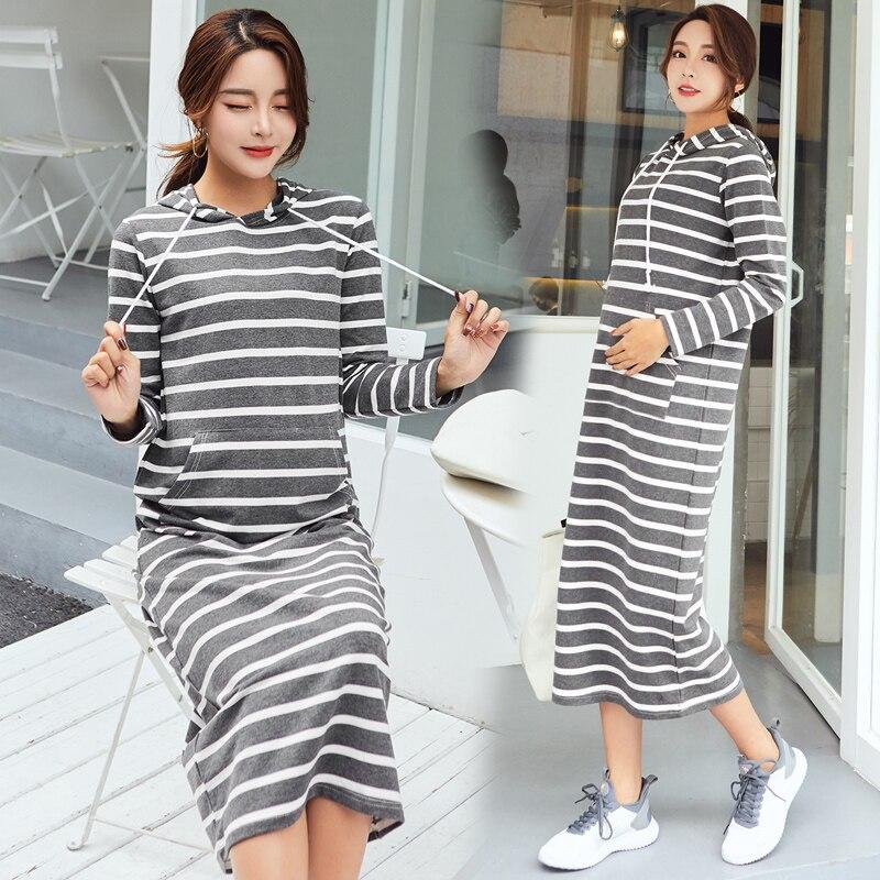 Maternity Plus Midi Long Dress for Pregnant Women Korean Fashion Stripes Hoodies Dresses Pregnancy Casual Clothes Autumn Winter