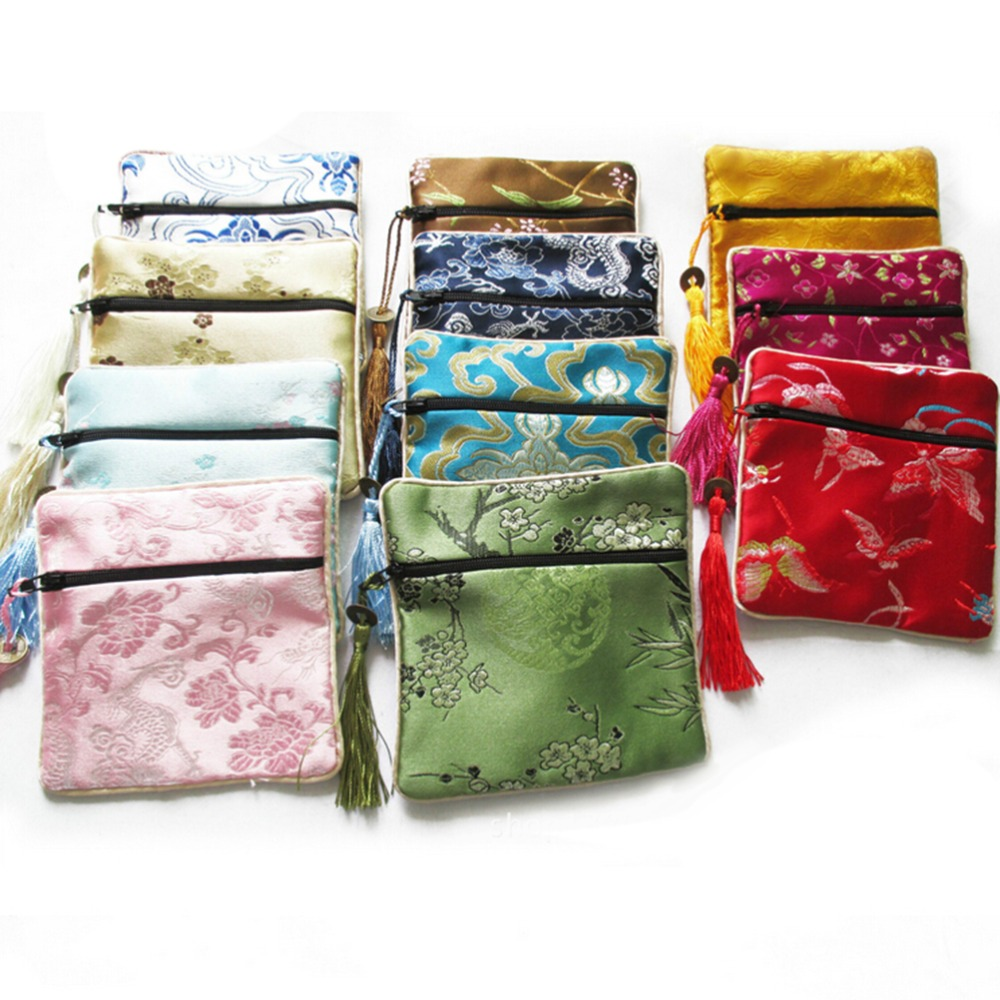 10 PCS/LOT New Mix Colors Small Flower Tassel Silk Square Coin Bags Chinese Zipper Coin Purse Jewelry Pouches Wholesale