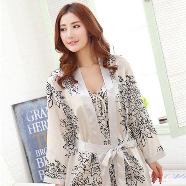 323c8dc645 Best Offers Silk Nightwear Printed Robe   Gown Set Sexy Female Bathrobe  Women Sleepwear Deep V