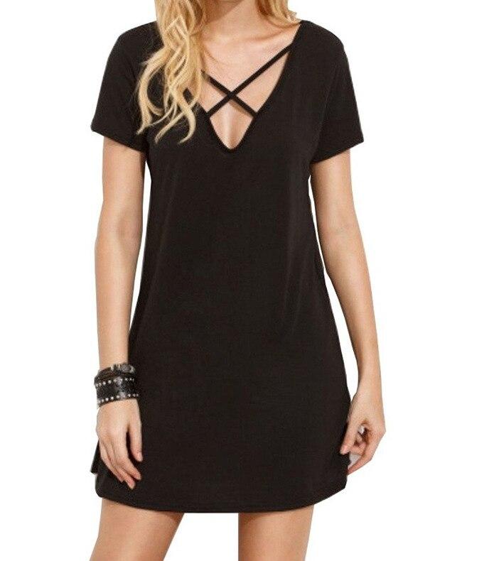 Women Summer Casual T-shirt Dress Solid V-neck Front Cross Short Sleeve Mini Dress HD0138