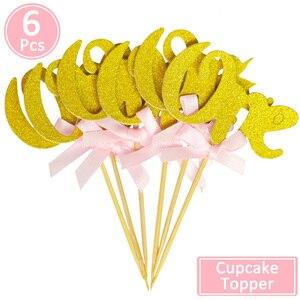 Image 2 - 6/10 Pcs גליטר נייר אחד Cupcake Toppers ראשון מסיבת יום הולדת קישוטי 1st יום הולדת שלי 1 שנה תינוק ילד ילדה וגינה