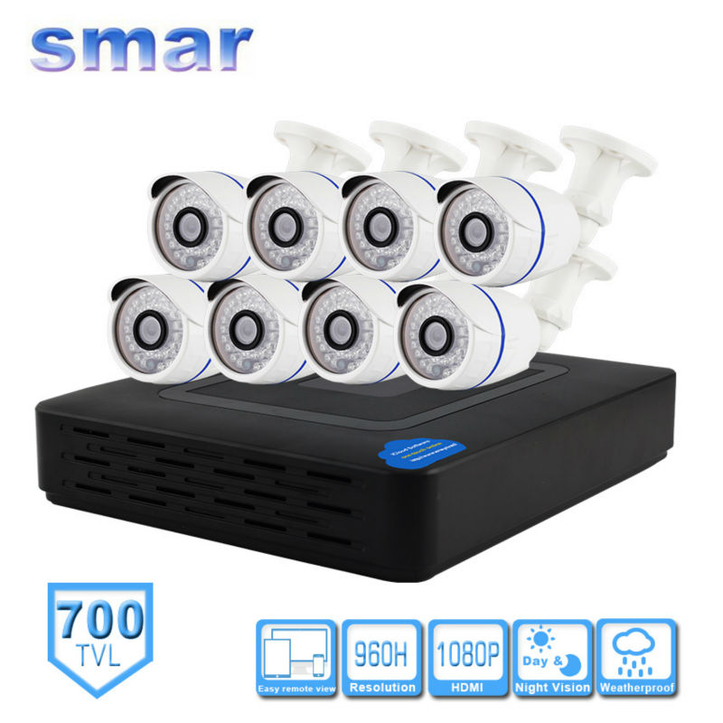 Smar H.264 8 Channel 960H D1 CCTV DVR Surveillance Security System 700TVL IR Outdoor Analog Camera Kit Plastic Shell Hot Sale система видеонаблюдения ngtechnic 8 8 cctv 8 2 dvr 1008 d626bcm 700 c