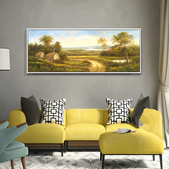 Landscape Oil Painting Canvas Printings Retro Home Decor Hotel ...