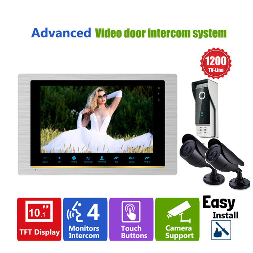Homefong 10 Inch Video door phone doorbell camera intercom system with CCTV Security camera 1200TVL Day/Night Vision HD homefong 7 tft lcd hd door bell with camera home security monitor wire video door phone doorbell intercom system 1200 tvl