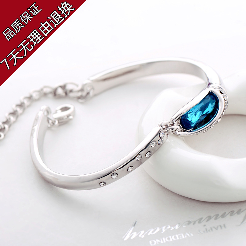 Hot-selling austria crystal glass shoes bracelet silver plated bracelet female accessories yiwu