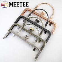 Meetee 1pc/5pcs 20.5cm Embossed Handbag Purse Frames Clutch  Kiss Clasp Lock Buckle DIY Craft Metal Bag Handle Accessories BF012