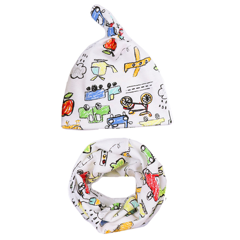 2018 New Autumn Winter Crochet Children Beanies Hat Sets Cotton Warm Baby Hat Scarf Set Boys Girls Cap Kids Hats Scarf Collars