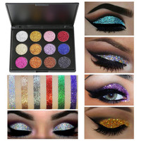 12 Color Eyeshadow Palettes Long-lasting Shimmer Glitter Eye Shadow Powder Palette Matte Eyeshadow Cosmetic Palette Makeup Health & Beauty