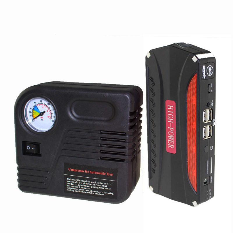 12V Car Jump Starter Charger for Electronics Phone Diesel Vehicles Auto Engine Emergency Battery + Inflatable Pump