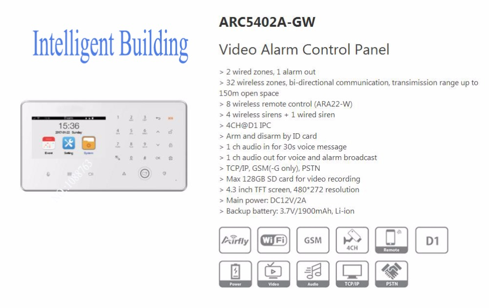 Free Shipping DAHUA Security Alarm System Wireless Controller Video Alarm Control Panel Without Logo ARC5402A-GW