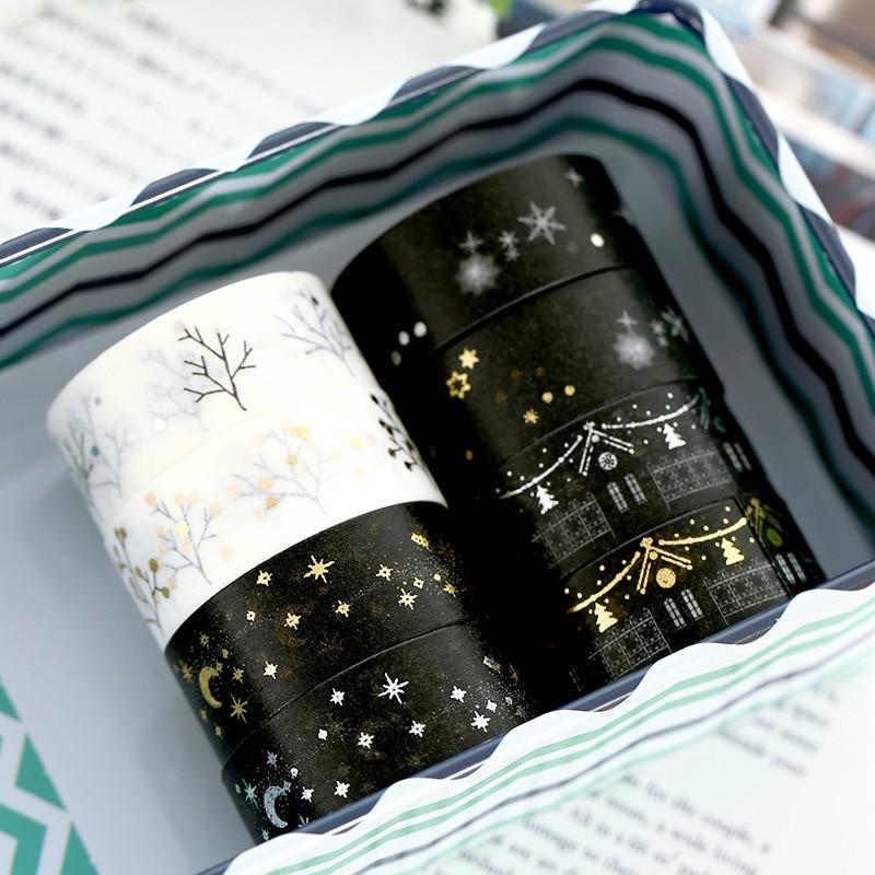 1.5cm*5m Stars Snowflake Christmas Bullet Journal Washi Tape Adhesive Tape DIY Scrapbooking Sticker Label Japanese Stationery