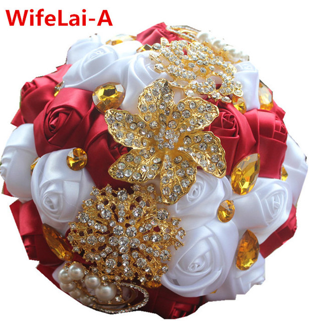Wine Red White Roses Gold Brooch Bridal Hand Holding Flower Bouquets Gold Crystal Silk Bridesmaid Wedding BouquetS W227 Custom