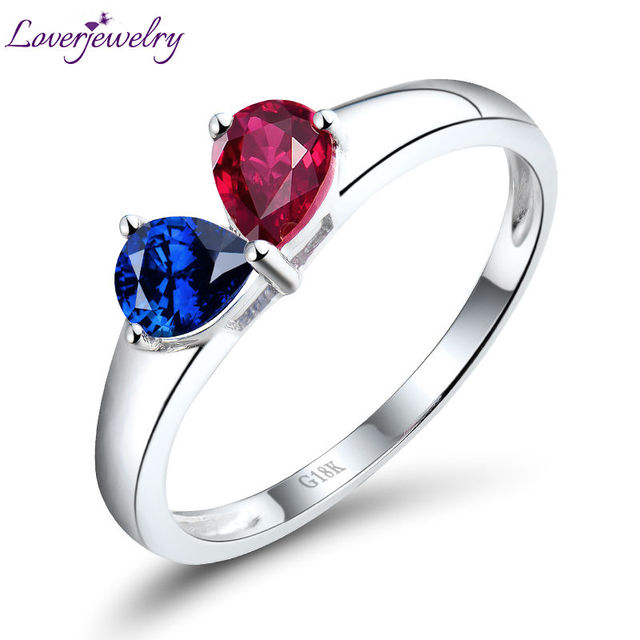 Loving solid 18k white gold blue sapphire ruby wedding ring design loving solid 18k white gold blue sapphire ruby wedding ring design two gemstone diamond jewelry for junglespirit Image collections