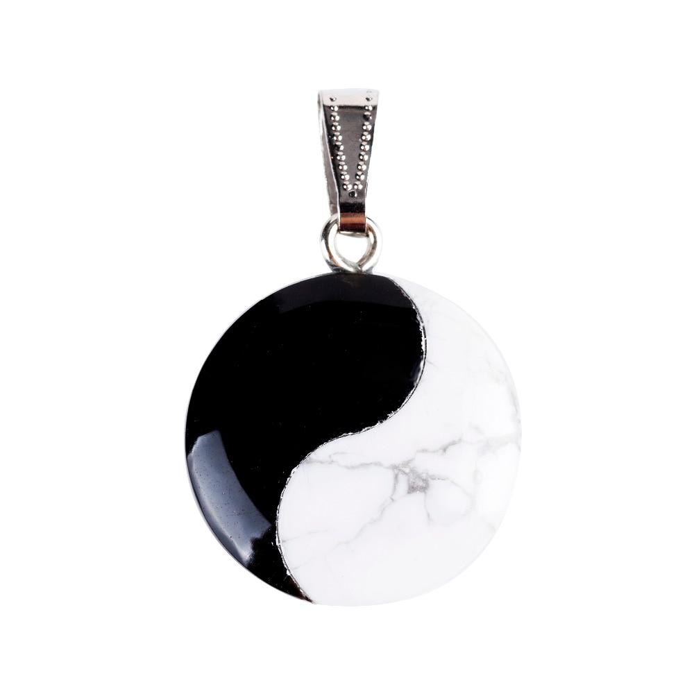 25mm černý obličej Howlite Round Tai Ji Nejvyšší pól Přívěsky Stone Vyřezávané kyvadlo Chakra Léčení Reiki Volné pouzdro