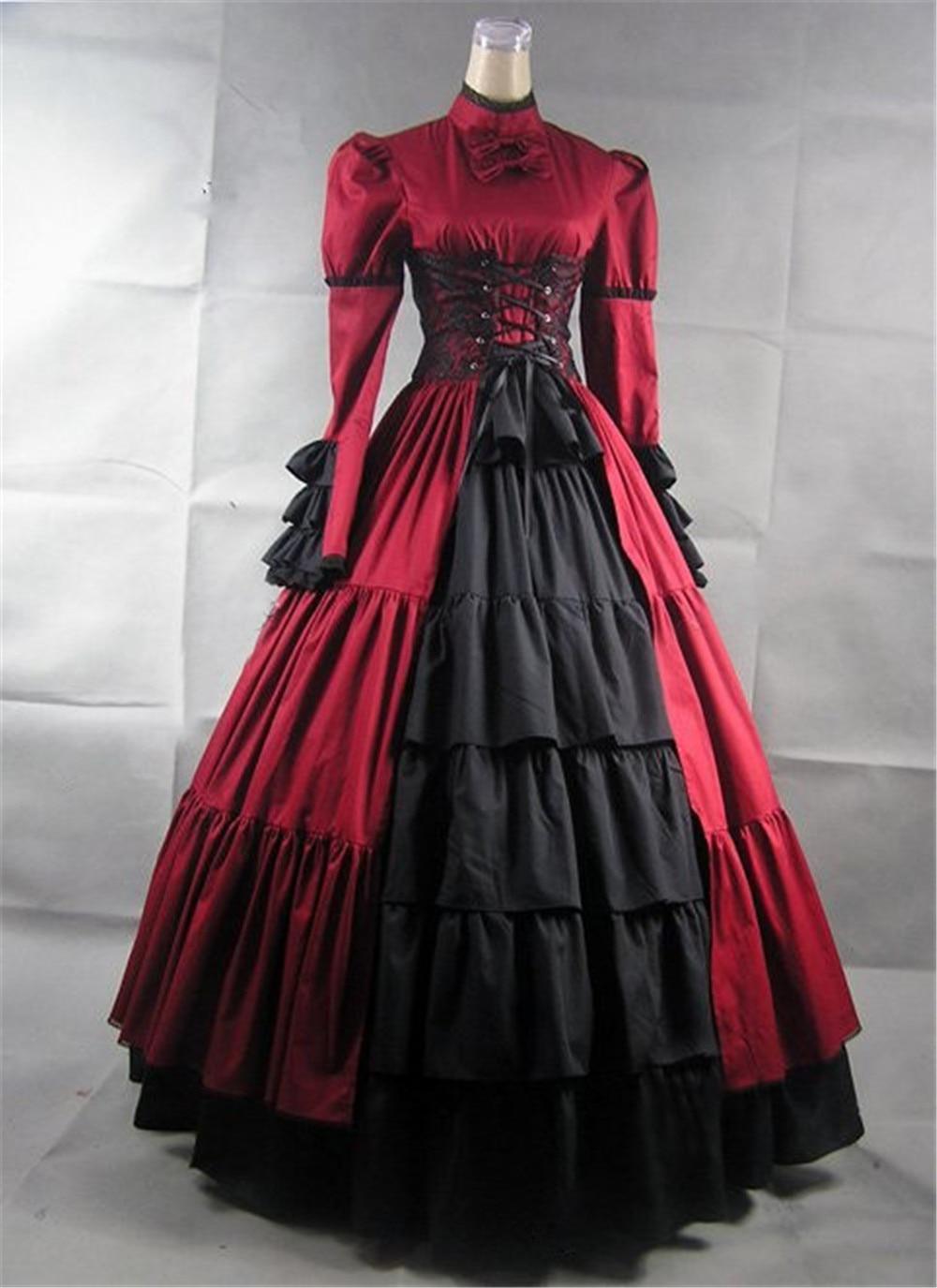 Women Fashion Vintage Style Women Medieval Dress Gothic Dress Floor Length Women Cosplay Dress Retro Long Gown Dress