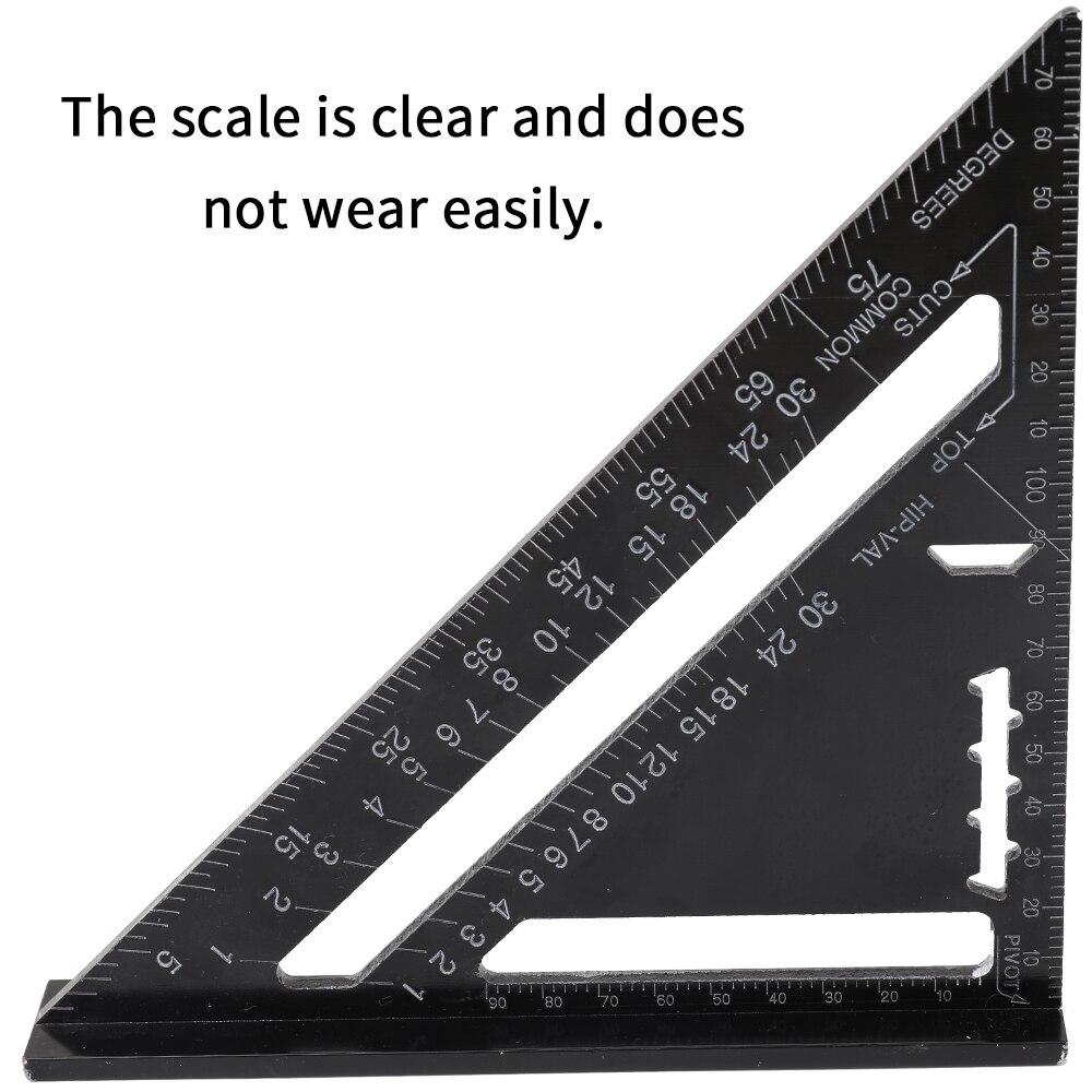 Herramienta de medición de aleación de aluminio regla triangular de 7 pulgadas para carpintería 90 grados 45 grados regla angular Ángulo Cuadrado transportador