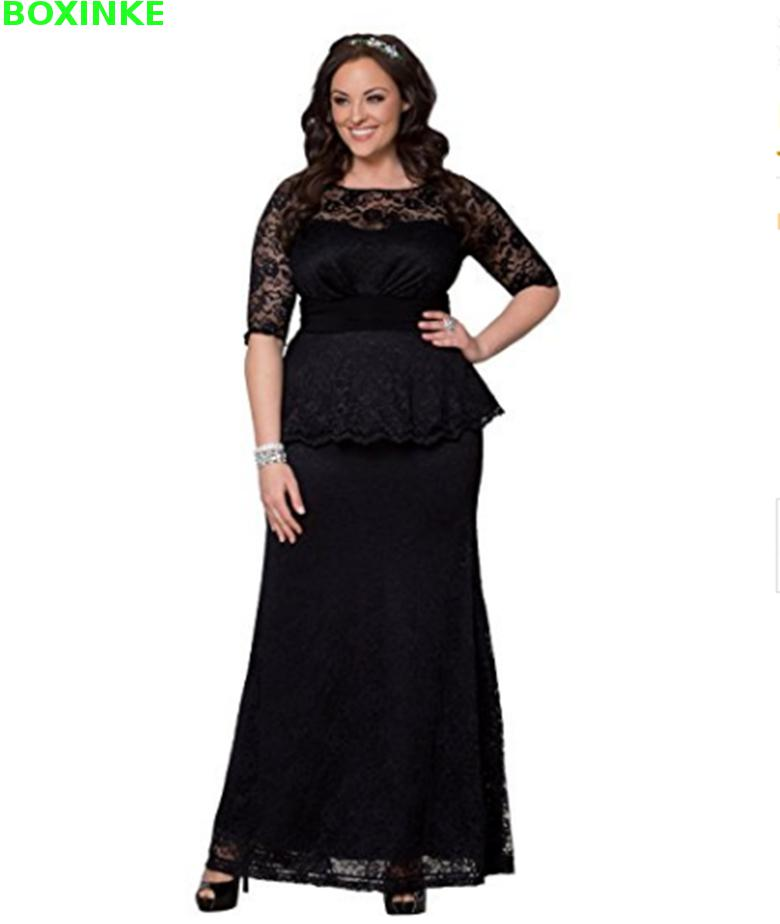 Vadim dentelle vraie Robe Fiesta o-cou solide temps limité Empire étage-longueur demi grande taille robes femmes longue Robe formelle 7xl