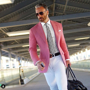 Latest Designs Pink Men Suits for Wedding Suits One Button Groom Tuxedo Prom Party Costume Homme 2Piece Slim Fit Terno Masculino
