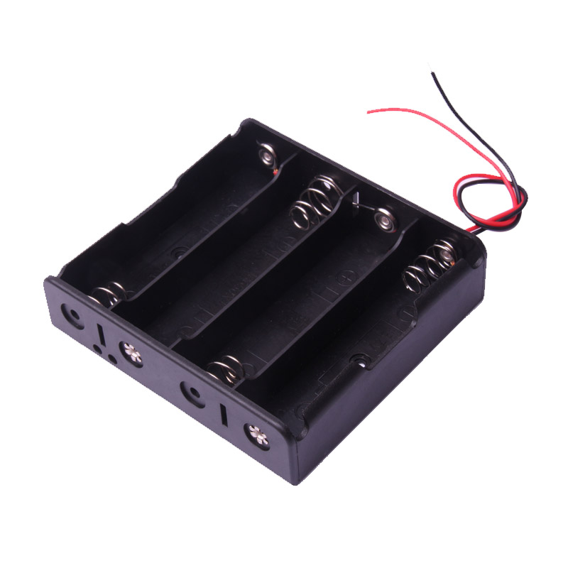 Glyduino Multi-Slot 18650 Mobile 4 Battery Clip Hard Base Case Holder With Wire Leads DIY