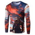 3D Printed God War Fashion Men T shirt 2016 New Spring Casual T-shirt Men Handsome Hip Hop T shirt Slim Cotton Male Tees A8821