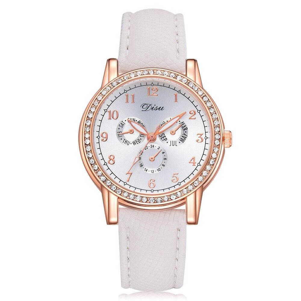 Women's Watches Ladies Luxury Diamond Business Quartz Wristwatches Retro Design Leather Band Analog Alloy Quartz Wrist Watch