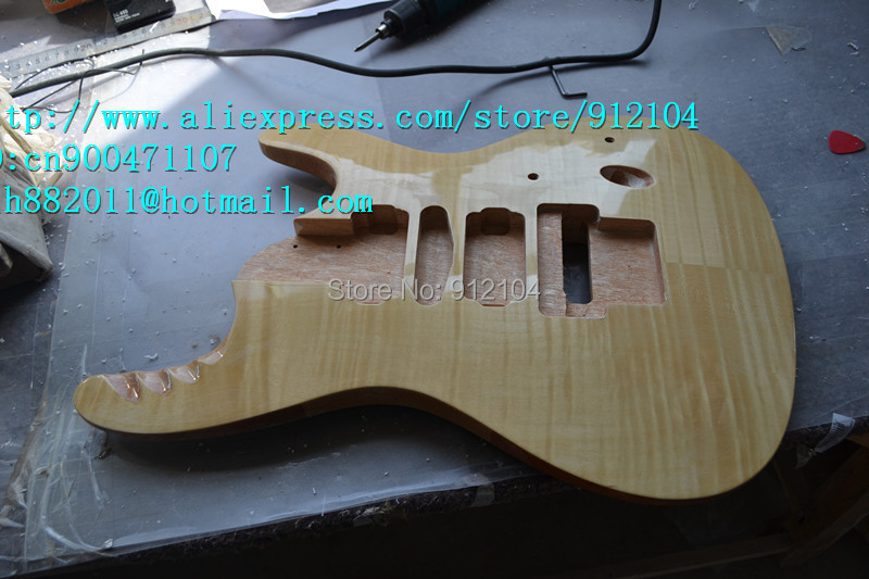 free shipping retail new electric guitar body with ultra-thin tiger stripes  F-1481+foam box new unfinished electric guitar body with sticking tiger stripes not painted free shipping foam box