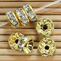 Nuevo 100 unid Oro Crystal Rhinestone Rondelle Spacer Bolas Tamaño 4/6/8/10/12mm