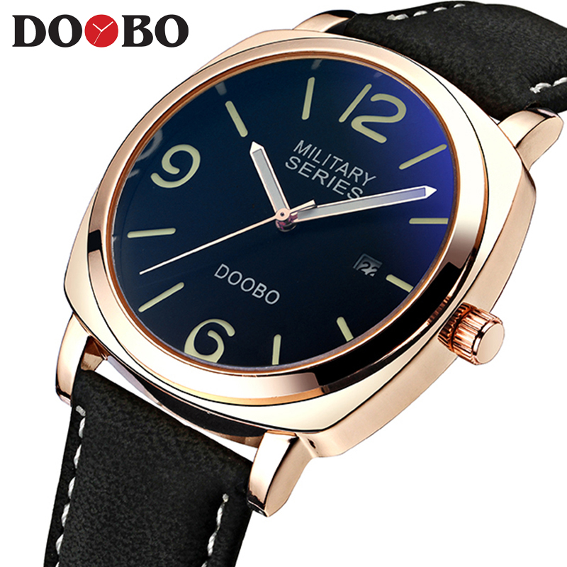Luxury Brand Black Watch Men Leather Reloj Hombre Quartz Sport Business Rose Gold Sports Date Wristwatches Relogio Masculino