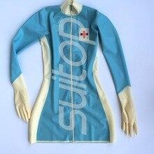 Латексное вечернее платье, латексное платье с перчатками, одежда, униформа медсестры, косплей, сексуальное в Скай, голубое и белое, отделка