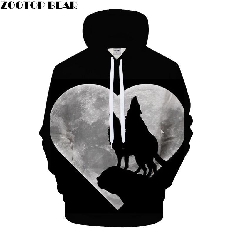 Heart Moon Hoodies Wolf Hoody Men Women Sweatshirts Funny Tracksuit 3D Pullover Harajuku Coat Streatwear Drop Ship ZOOTOPBEAR