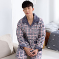 -25 Degree! High quality winter overalls thick quilted pajamas men's flannel long-sleeved quilted jacket home service men pyjama