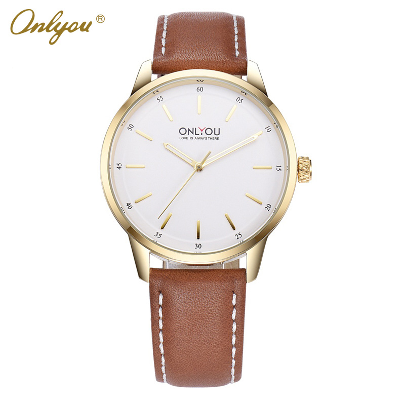 Onlyou Brand Business Watches For Men Fashion Quartz Watch Leather Strap Reloj Hombre Relogio Masculino Male Clock Gifts 85008 big face original oulm 9316b brand japan movt quartz dz watch large men dual time male imported reloj hombre relogio masculino